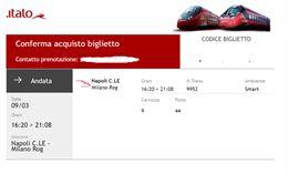 Biglietto Napoli - Milano Rog 9/03