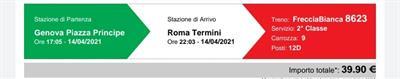 Biglietti treno Genova Roma