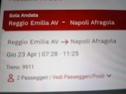 2 biglietti Reggio Emilia. Napoli Afragola 23aprile