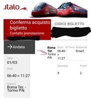 Biglietto Roma Torino 01/03