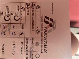 2 Biglietti treno Bologna-lecce