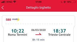 Biglietti 06/03 per 2 persone Roma Termini - Trieste
