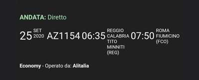 Biglietto aereo Reggio Calabria - Roma Fiumicino 25/09/2020