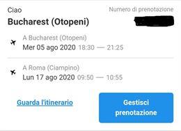 Biglietto Aereo A/R Roma - Bucarest per Agosto 2020