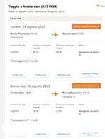 2 Biglietti Roma Fiumicino - Amsterdam 24-30 agosto