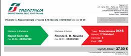 Biglietto FR 1000 da Napoli a Firenze per 06 settembre 2020