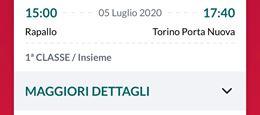 Rapallo - Torino 1a classe Domenica 5 luglio