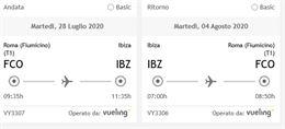Biglietti A/R per Roma - Ibiza