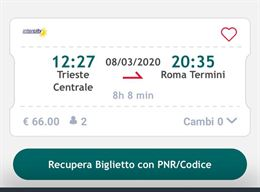 Biglietto 08/03 per 2 persone Trieste - Roma