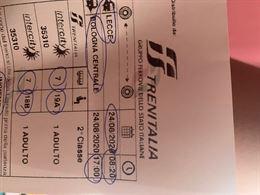 2 biglietti treni Lecce-bologna