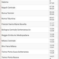 15.03 domenica Italo Salerno 7.20-Torino P.S. 14.26