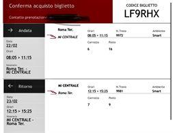 Treno Italo Milano/Roma 23/02