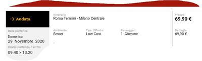 Biglietto Italo Roma-Milano