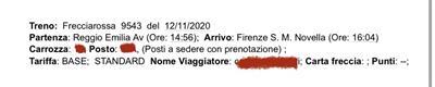 Biglietto Trenitalia Reggio Emilia - Firenze SMN