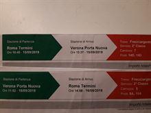 2 biglietti a/r Roma Verona