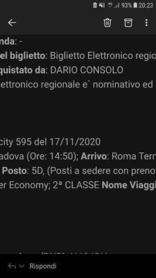 Biglietto Padova-Roma