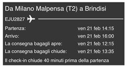 Milano - Brindisi ven 21/02/2020