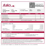 3 biglietti treno Italo Prdenone Roma A/R