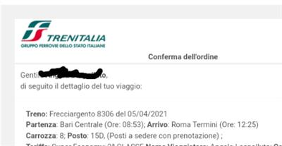 Frecciargento Bari Roma del 05/04