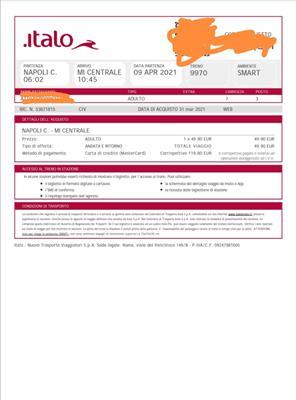 Biglietto Italo Milano c. Le